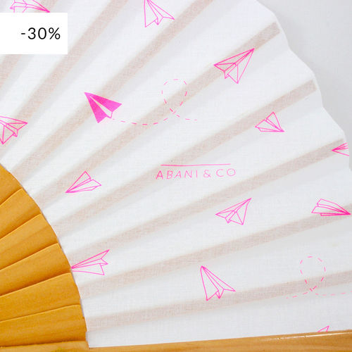 Hand fan Paperplanes white & pink
