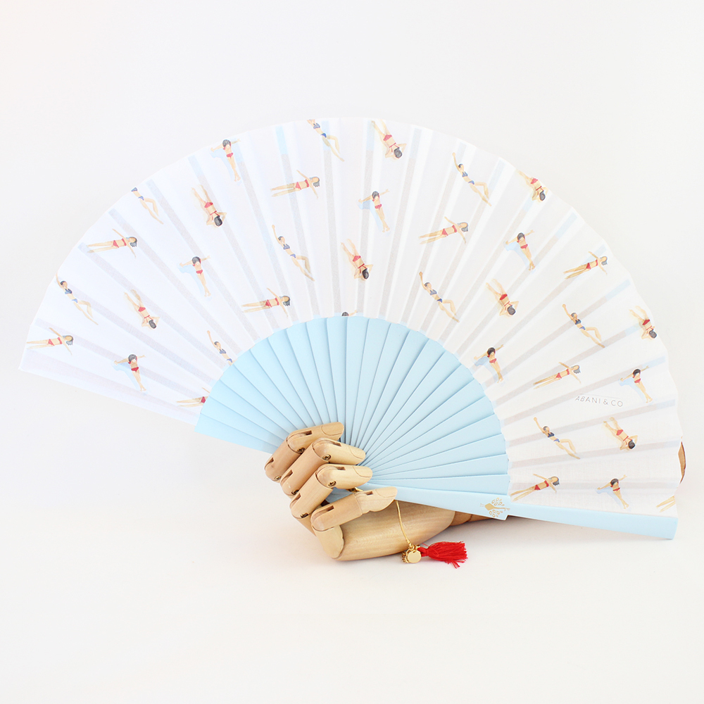 Hand fan Swimmers blue