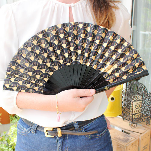 Hand fan Art Déco black