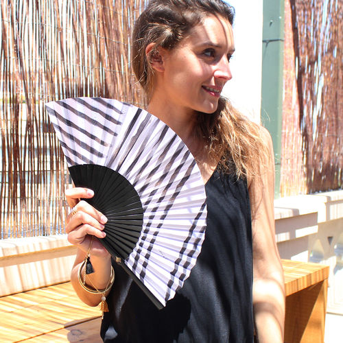 Hand fan Stripes black
