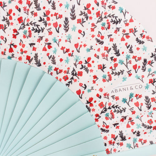 Mini hand fan Petite Flore green mint
