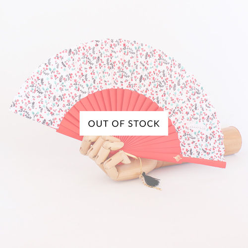 Mini hand fan Petite Flore red