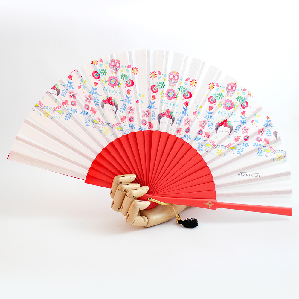 Hand fan Frida red