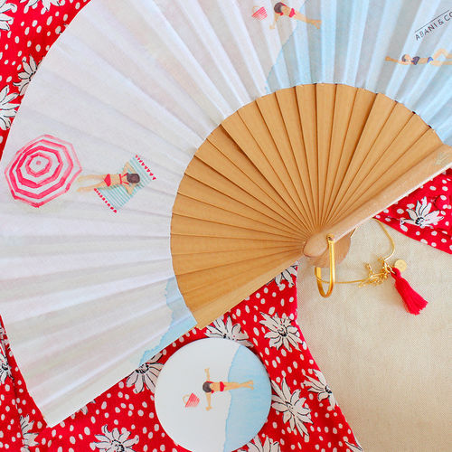 "Duo mirror + hand fan ""La Plage"""
