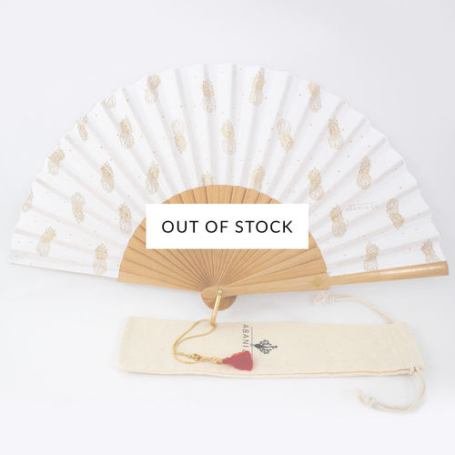 Hand fan Pineapple white