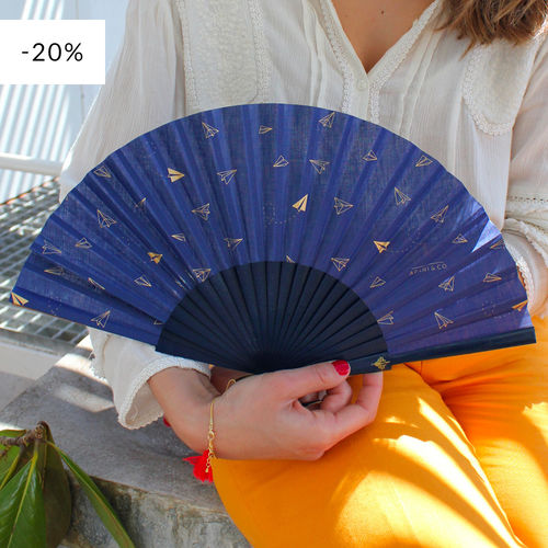 Hand fan Paperplanes blue & gold