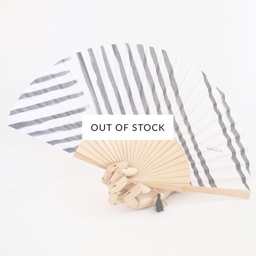 Hand fan Stripes wood