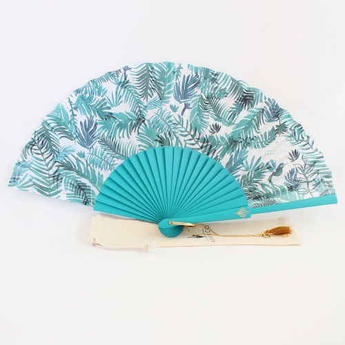 Hand fan Blue Jungle