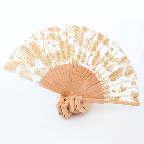 Hand fan Jungle Gold
