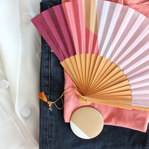 "Duo hand fan + mirror ""Diamond"""