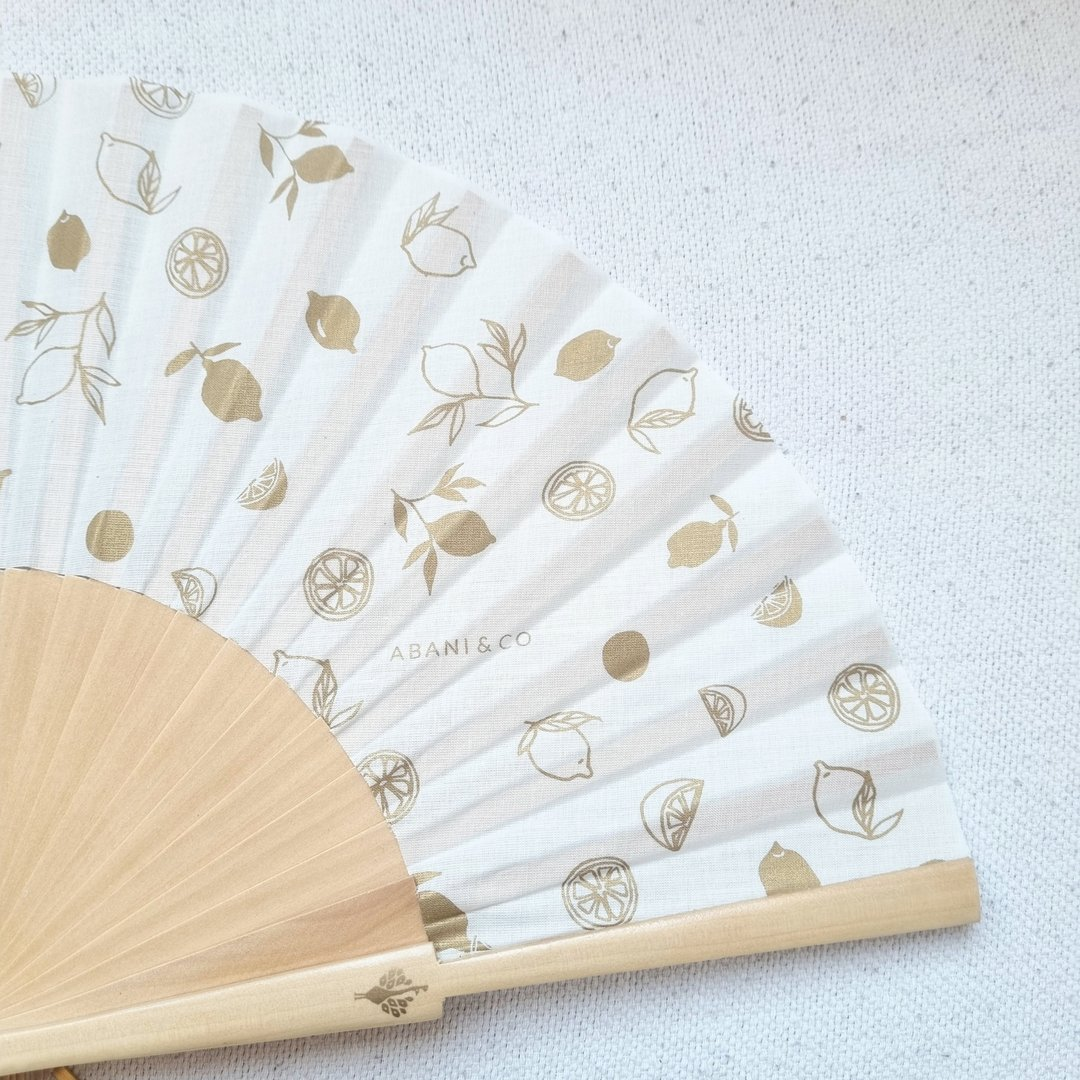 Hand fan Limón Gold